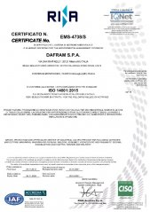 Certificate ISO 14001:2004 for the environmental management system of the company organization