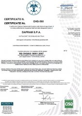 Certificate BS OHSAS 18001:2007 for design, production and after-sales service of industrial ball valves