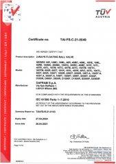 SIL Certificate for Floating Ball Valves
