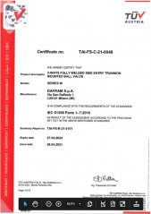 SIL Certificate for Fully Welded Ball Valves
